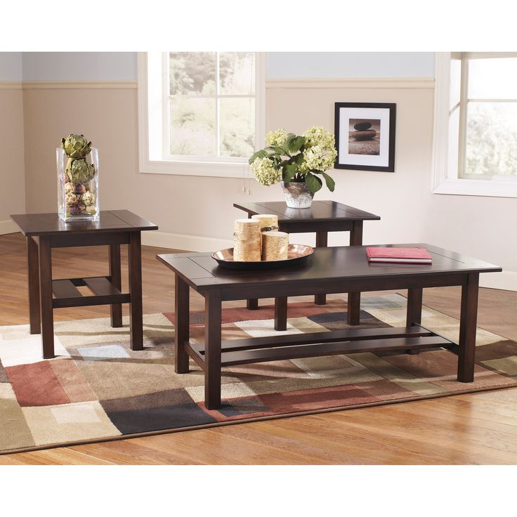 Signature Design by Ashley Lewis 3 Piece Occasional Table Set - FSD-TS3-35MB-GG