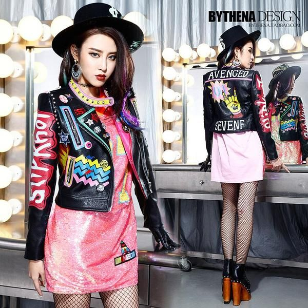 Letter Printed Leather Jacket