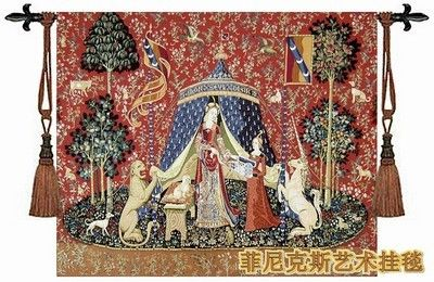 Unicorn series - noble woman wall hanging belgium tapestry 83 X 68cm dress women medieval pictures decor aubusson