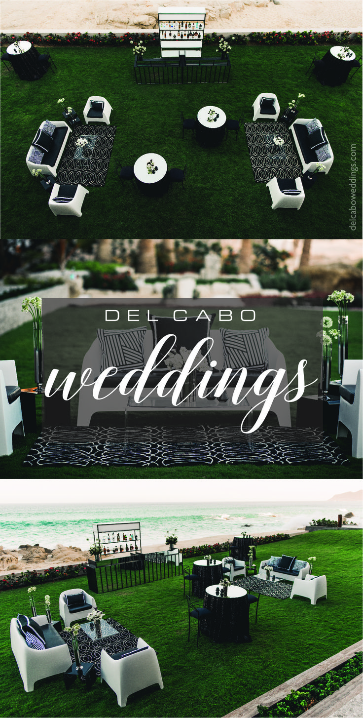 Amazing beach lounges for your modern chic classy wedding. Get your simple wedding a unique touch contrasting black and white colors!