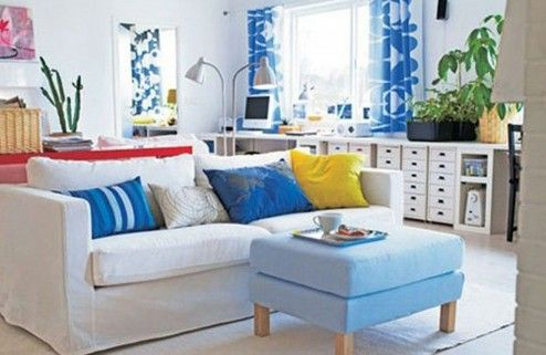 Furniture, Charming Blue Themed Living Room Decoration With Nice Fancy IKEA Living Room Sets Furniture Design Ideas ~ Neoteric Living Room Sets IKEA for Great Room Elegance