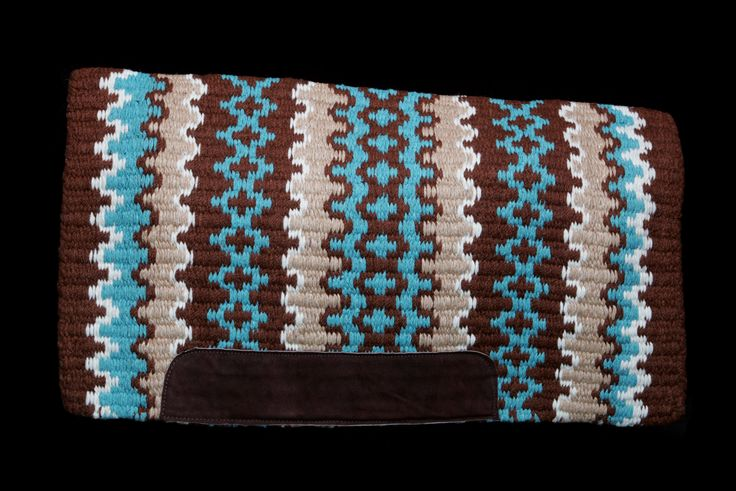 "Show Pro Deluxe Oversize Western Saddle Blanket, brown, turquoise,  38"" x 34"".  Exclusive to Buckles 'n' Bits."