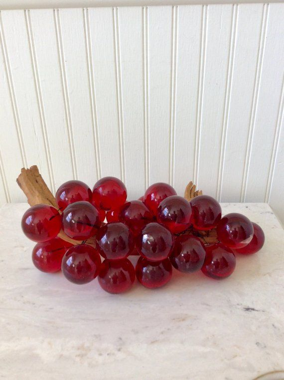 Gorgeous Mid Century Lucite Acrylic Glass Grapes On Wood Stem Red Large 1 5 Round Balls Attached To Wood Dri Mid Century Lucite Vintage Table Table Top Decor