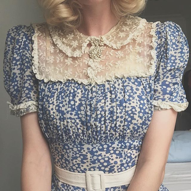 1940s fairy medallion brooch in action ✨On 1930s lace and rayon dress ☁️