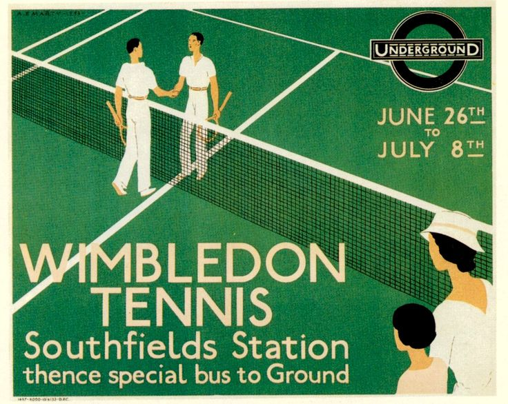 Wimbledon Tennis 1933,  London Underground Railway Poster Print by BloominLuvly on Etsy https://www.etsy.com/listing/152256563/wimbledon-tennis-1933-london-underground