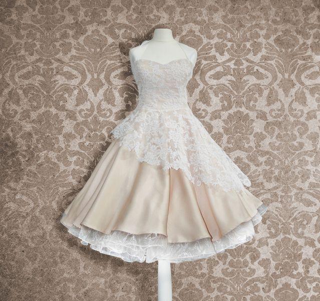 Brautkleid,50er Jahre, knielang, Hochzeitskleid, von Rockabillymode Petticoatkleider Brautkleider auf DaWanda.com