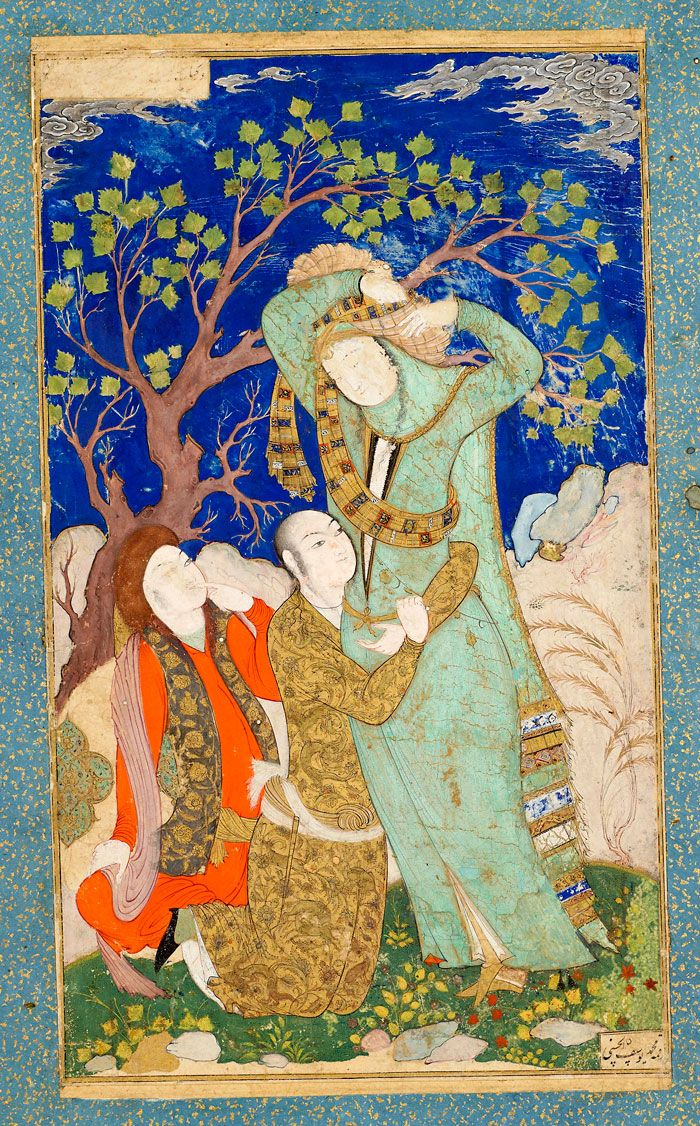 Lovers Observed by a Youth | Leaf from the Read Persian Album, by Muḥammad Yūsuf al-Ḥusainī | Persia | ca. 1630 | The Morgan Library & Museum