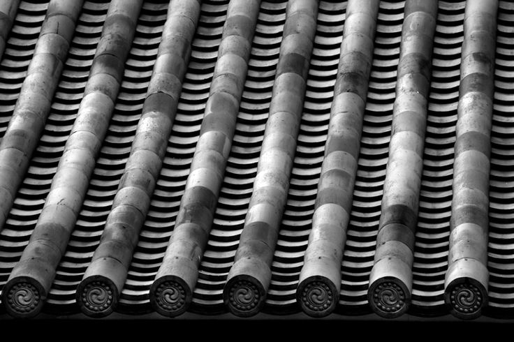 rows of roof tiles Japan