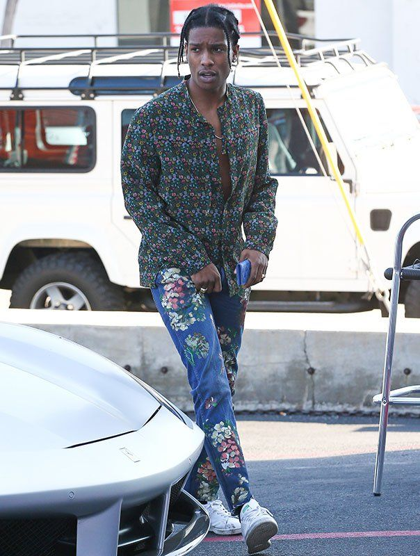 8019f4358ee ASAP Rocky Hops Out Ferrari Wearing Gucci Shirt
