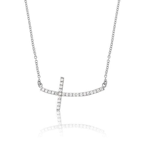 "Sterling Silver 16"" Curved Sideways CZ Cross Necklace Beaux Bijoux. $38.99. Can be delivered next Business Day!. Designer-inspired beautiful cross necklace. Gift box included. Dazzling Cubic Zirconia. Save 51%!"