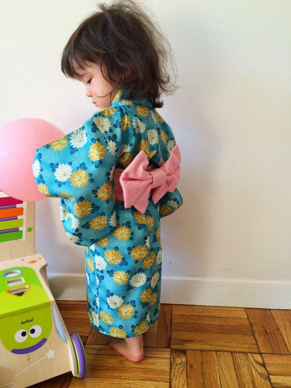 Yukata with Obi Sash for Girl Cotton Kimono by hukuhook on Etsy