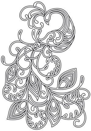 Satin stitch swirls and curls intersect in this magical peacock design. Embroider onto apparel, decor, and more! Downloads as a PDF. Use pattern transfer paper to trace design for hand-stitching.