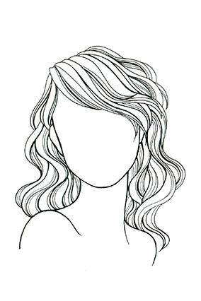 Wavy or Curly Hair, Round Face Length can be midneck to midback, but always get long layers to counteract a pyramid effect; a deep side part emphasizes bone structure.
