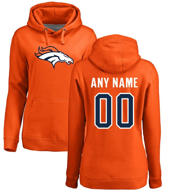 Denver Broncos NFL Pro Line Women's Any Name & Number Logo Personalized Pullover Hoodie - Orange