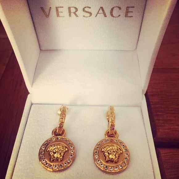 c2ec8e5bb Discover ideas about Fashion Tips. VERSACE Greca & Medusa Drop Earrings ...