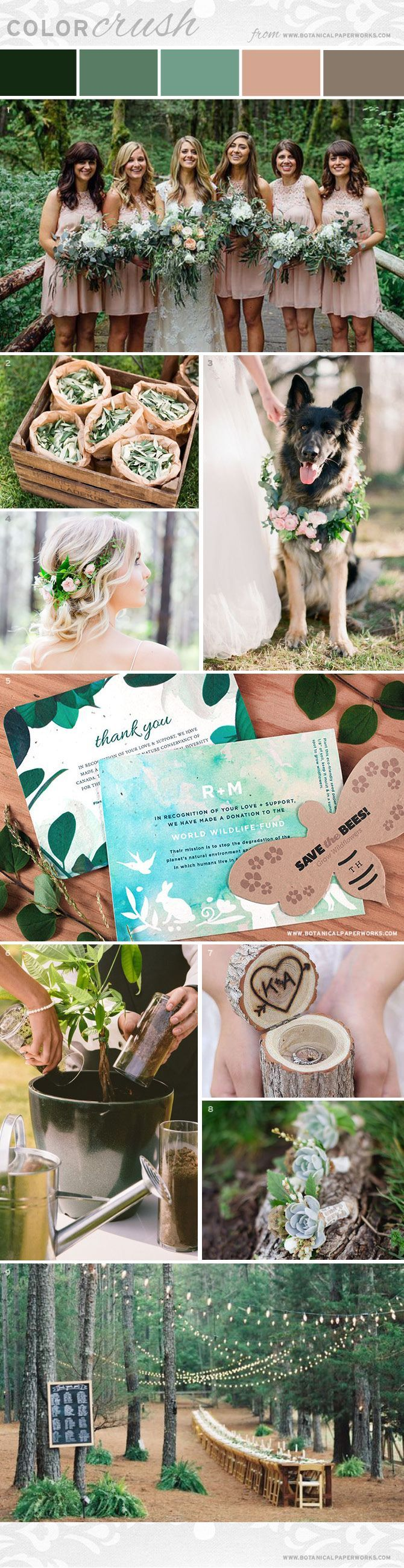 Create natural, beautiful ambiance for an eco-friendly wedding with the earthy elements featured in this dreamy #weddingstyle board. #eco #weddingplanning #ecofriendly