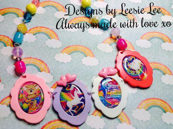 Valentines Day Sale Lisa Frank Kawaii Rainbow Gemstone necklace Colorful hime 80s electric fuse statement unicorn koala bear