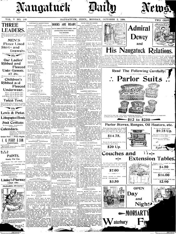 1899 Oct 2 Benjamin Elwell Obit   Naugatuck CT Daily News Vol V No 140