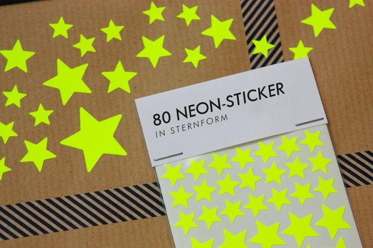Weiteres - 80 Neon-Sticker, STERNE, gelb - ein Designerstück von ZeugUndGold bei DaWanda