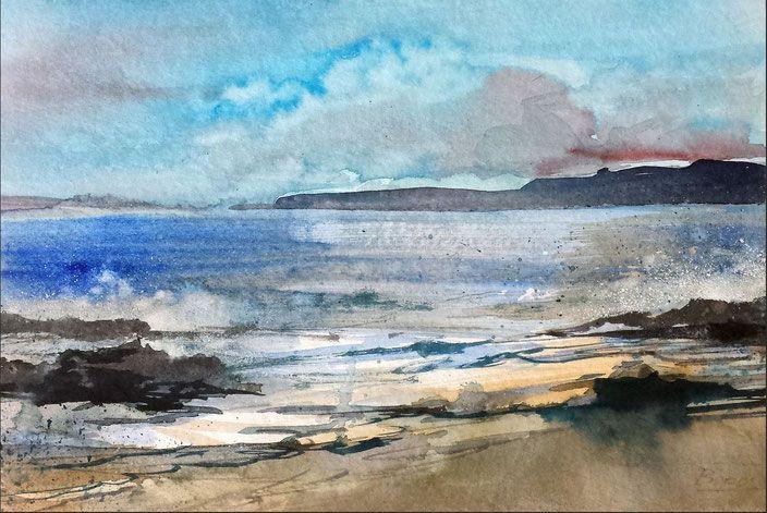 "Landschaftsaquarell ""Lust auf Meer - Urlaub"" Watercolor by Jopie Bopp"