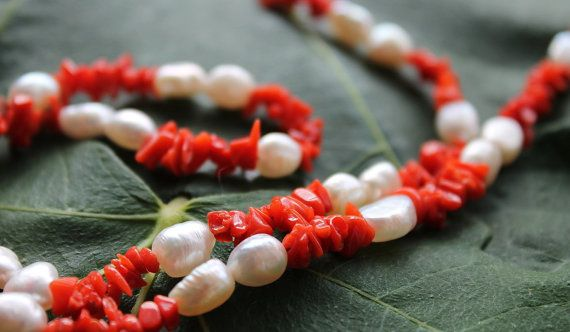 Handmade necklace of real white pearls and red coral by Youniquegr