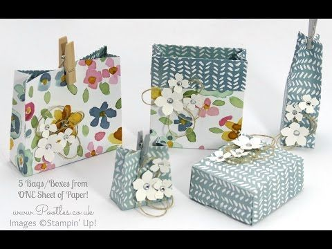 Stampin' Up! Demonstrator Pootles - 5 Bags Boxes from 1 Sheet of Stampin' Up! DSP + 12 Deals of Christmas