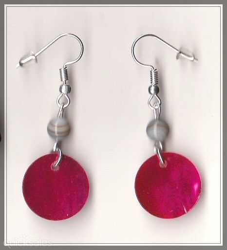 Hot Pink Mop Shell Bead Silver Plated Earrings  by MadAboutIncense - $10.50
