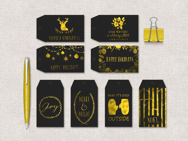 Christmas Tag Printable, Holiday Gift Tags, Christmas Labels, Gold & Black Tags, Printable Christmas Tags, Digital File - pinned by pin4etsy.com