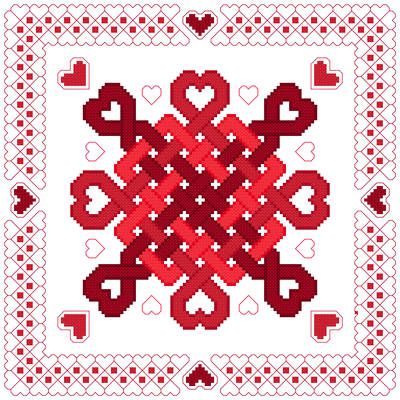 Hearts Abound cross stitch pattern.