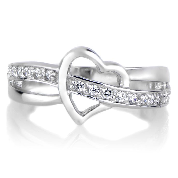 - A brilliant row of pave set CZ diamonds threads through the silver heart design, creating a dazzling effect. This sterling silver heart ring features a partial split band design. - Cubic Zirconia ri