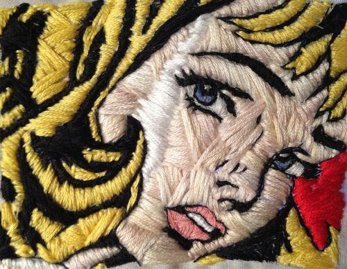 very Lichtenstein embroidery