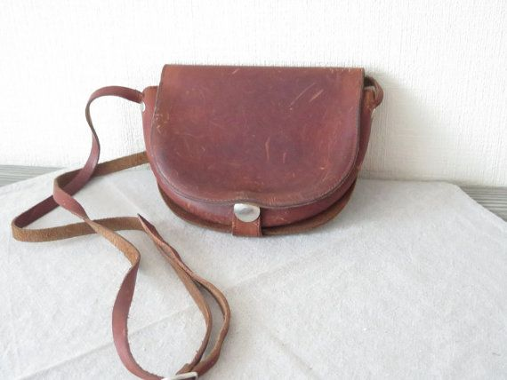 Vintage lederen tas kleine schoudertas Cross Over door FoxBoxMarket