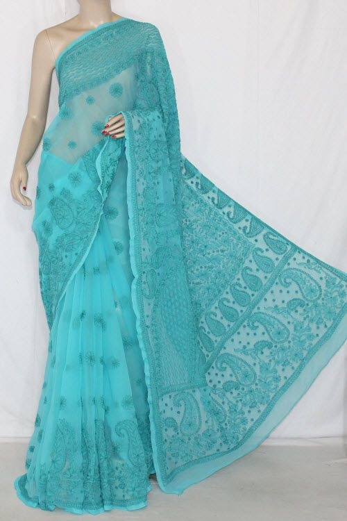 Sea Green Hand Embroidered Lucknowi Chikankari Saree (With Blouse - Georgette) 14387