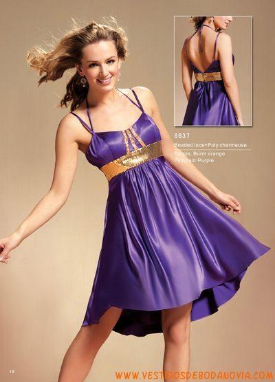 Púrpura y dorado Espagueti Fajines Imperio Satén Vestido de Fiesta Corto.