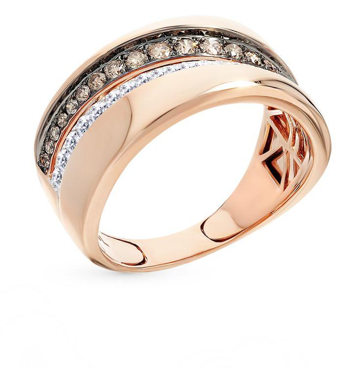 Золотое кольцо с бриллиантами: красное и розовое золото ...