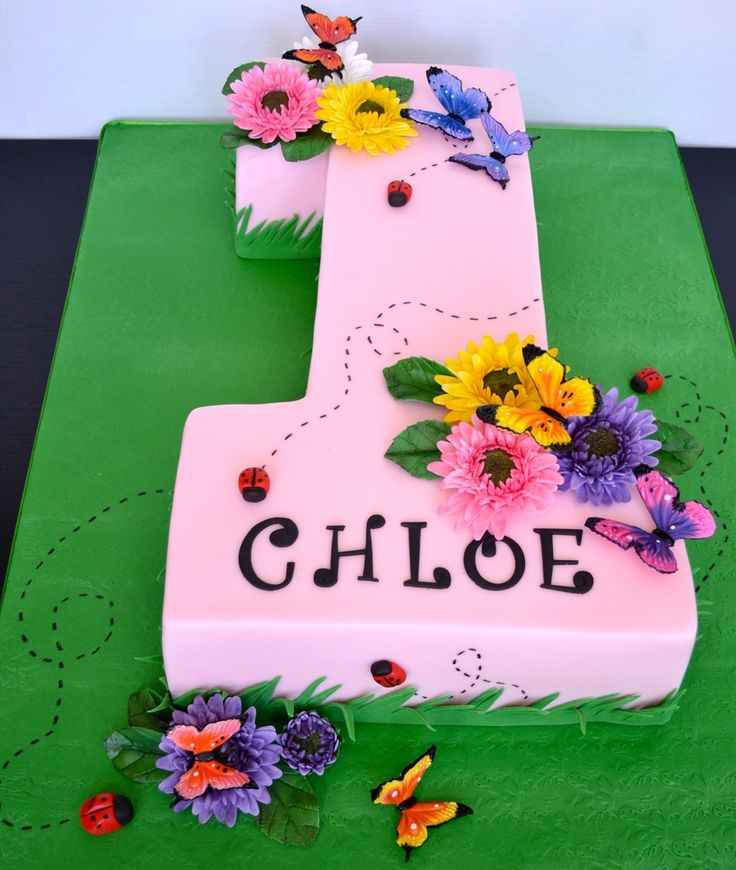 Number One First Birthday Cake Gerber Daisies And Butterflies Are Fondant