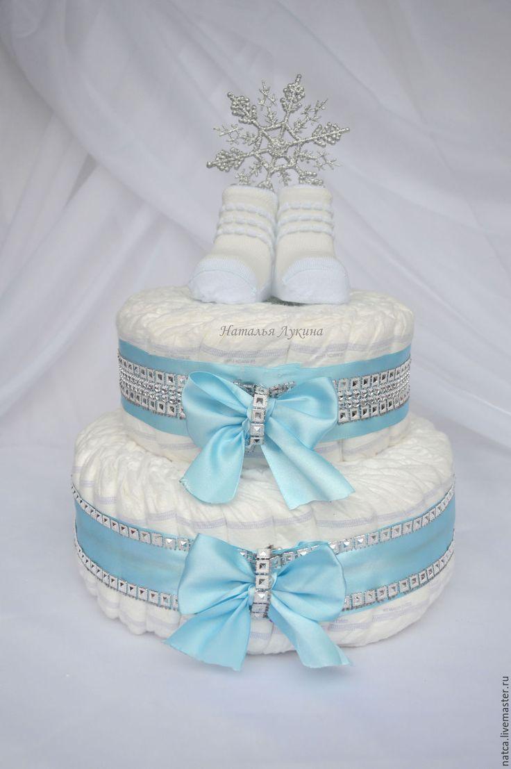 """Купить Торт из памперсов """"Снежинка"""" - голубой, торт из памперсов, торт из подгузников, торт из памперсов купить"""