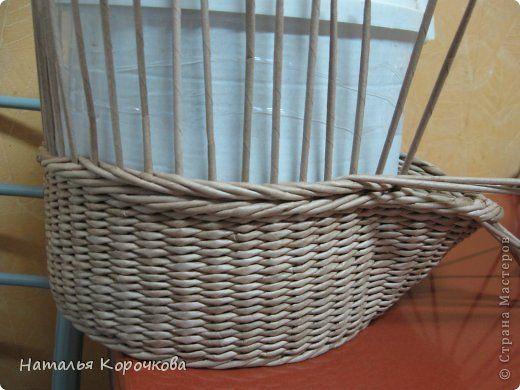 Поделка изделие Плетение Домики для лука с подробностями Трубочки бумажные фото 9