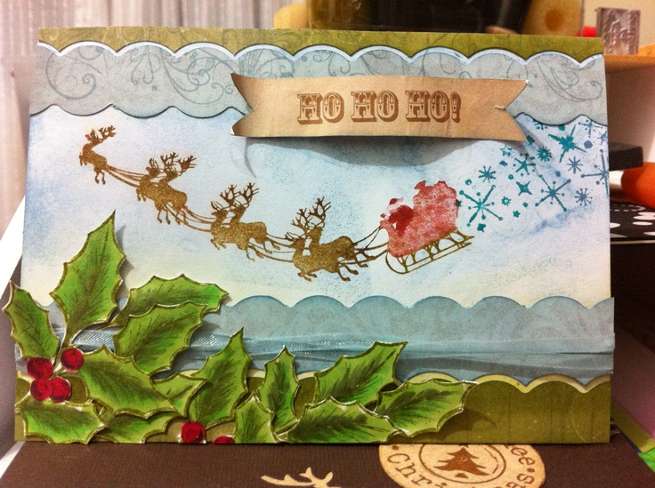 A Christmas card by Jenny James - using the Kaszazz 'ho ho ho' and holly stamps with Distress watercolour markers :)