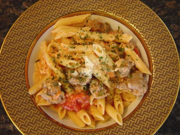 Fettuccine With Creamy Tomato Italian Sausage Sauce Recipe ...