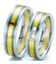 Βέρες γάμου τρίχρωμες με διαμάντι Breuning 6127-6128