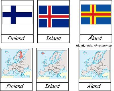 Detta material handlar om Norden. Det innehåller karta och flagga för alla de fem länderna som tillhör och tre självstyrande områderna. Länderna är Sverige, Norge, Danmark, Finland och Island, de…