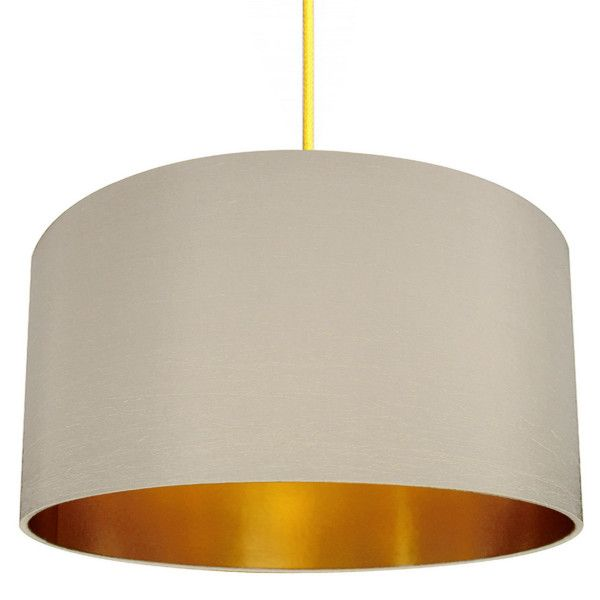 Gold Lined Lampshade In Stone Lovefrankie