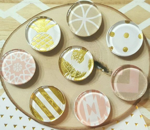 8 Pretty Magnets / Glass, 1 inch Magnets, Fridge Magnets / Pink, White, Tan / Arrow, Polka Dots, Stripes / Gift under 10, Accessories, Decor