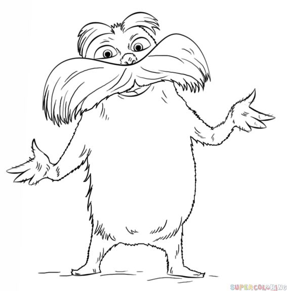 How to draw the Lorax Step by