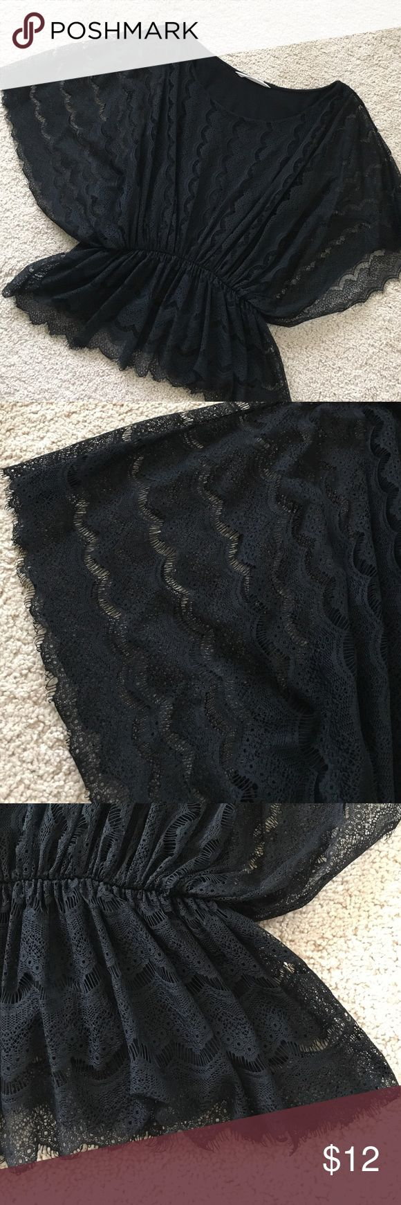 Black Lace Batwing Blouse Lovely condition black lace Blouse. Batwing sleeve and elastic waist with peplum flair. Lined. Old Navy Tops Blouses