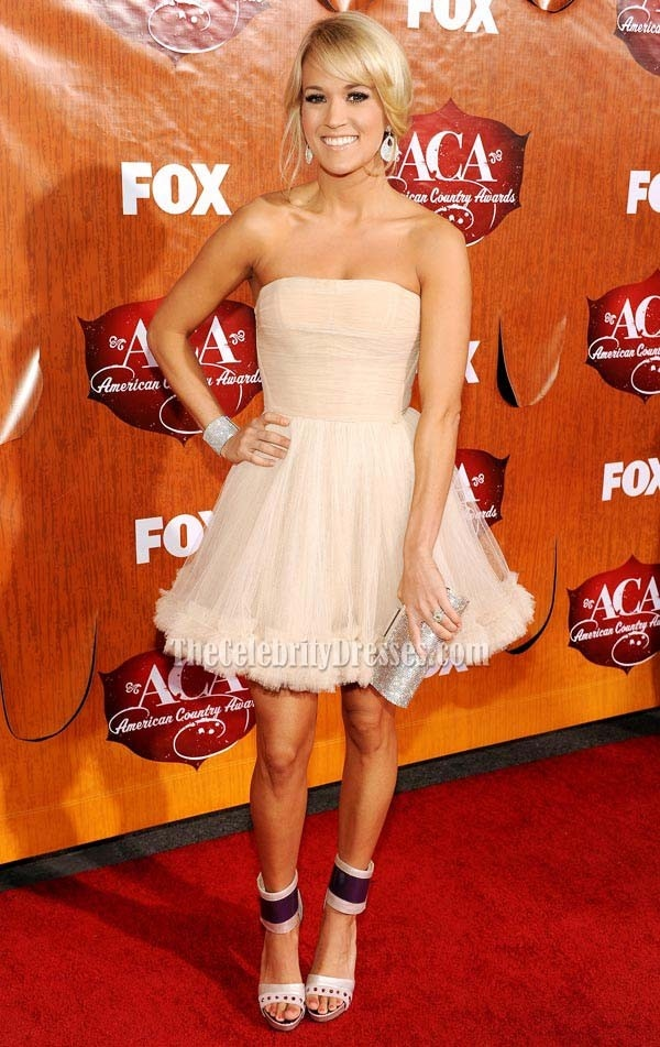 Carrie Underwood Cute Short Strapless Cocktail Party Dress 2011 American Country Awards Red Carpet  $129.00