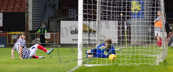 Queen's Park's John Carter scores during the IRN-BRU Cup game between Partick Thistle Colts and Queen's Park.