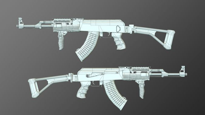 tactical ak-47 model only pack 3d model  12