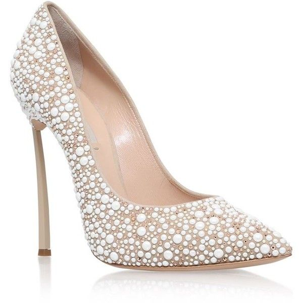 Casadei Blade Jewelled Court Shoes (£900) ❤ liked on Polyvore featuring shoes, pumps, heels, heels stilettos, stiletto heel pumps, pearl pumps, stiletto pumps and pointy toe stilettos